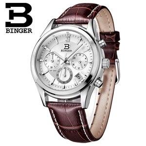 Image 5 - İsviçre BINGER erkek saati lüks marka kuvars su geçirmez hakiki deri kayış otomatik tarih kronometre erkek saat BG6019 M