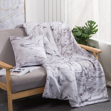 Pillow Cushion Blanket 2 In 1 Marble Flamingo Blankets for Beds Car Soft Summer 100% Cotton Throw Bed Cover 100x150cm