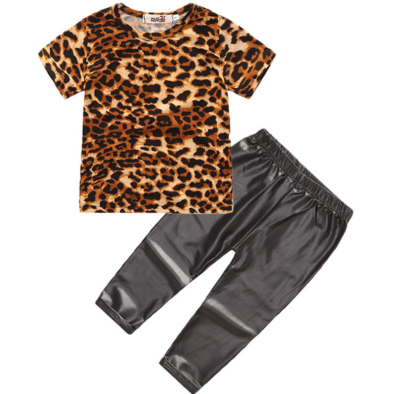 2018 New Fashion Girls chothes set toddler girls summer clothing Leopard T shirt + Leather pants Kids Tracksuits Sport Suit ...