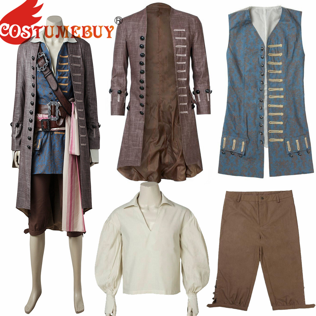 Captain Jack Costume Pirates of the Caribbean Cosplay Men Jacket Vest Hot Outfit