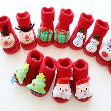 Новогодняя махровая утолщенная детская обувь с мультипликационным принтом осенне-зимние детские носки рождественские детские Нескользящие красные носки-тапочки для малышей