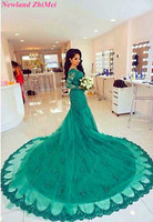 Charming Woman Mermaid Prom Dress Amazing V Neck Long Sleeve Lace Appliqued Tulle Evening Dresses Great Design