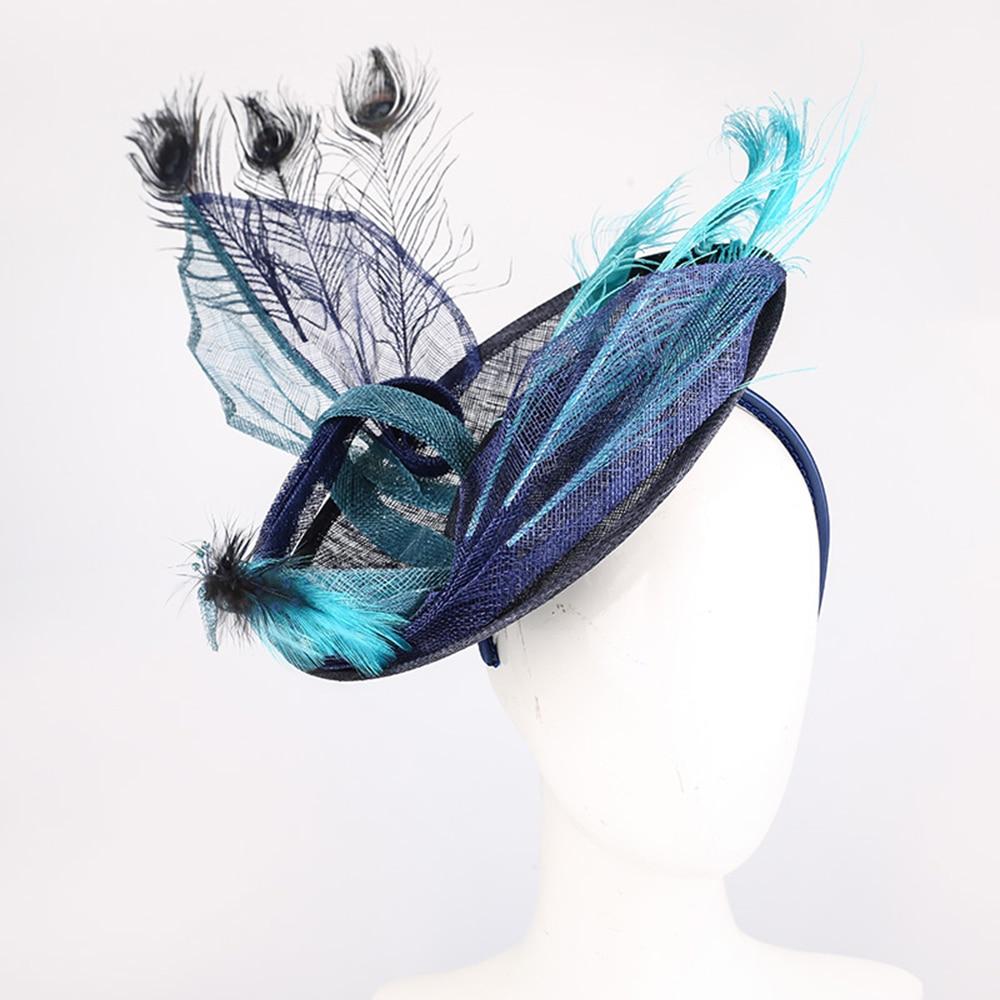 Fascinators femmes élégant été Fedoras chapeaux plume de paon décorer Bowler église chapeau bleu Cap fête formelle cheveux accessoires