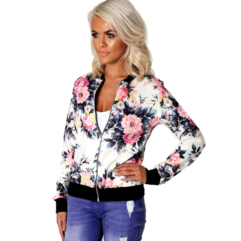 Fashion Floral Print Women Lady Coats 2018 Autumn Spring Bomber   Jacket   Long Sleeve Casual   Basic     Jackets   Coat Jaqueta Feminina