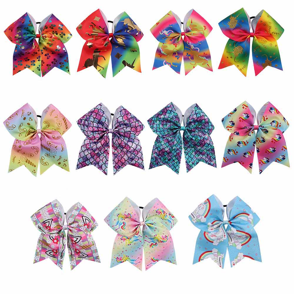 "11 Pcs/lot 7"" Unicorn Cheer Bows With Rubber Band Handmade Mermaid Cheerleading Hair Bows For Girls Kids Hair Accessories Strengthening Waist And Sinews"