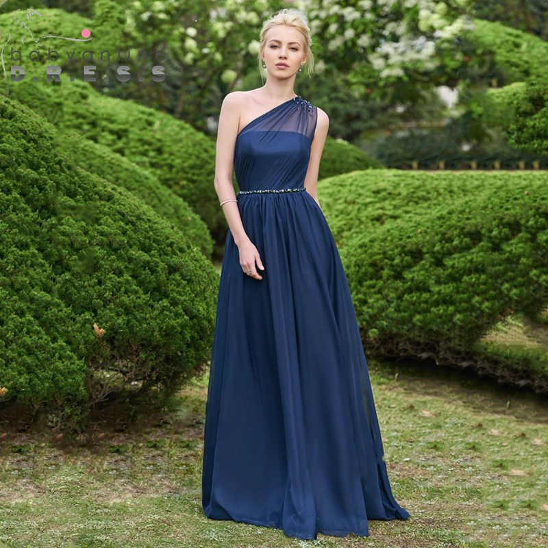 New Arrival Long Chiffion   Bridesmaid     Dress   Sexy One Shoulder Navy Blue Wedding Party   Dresses   robe demoiselle d'honneur