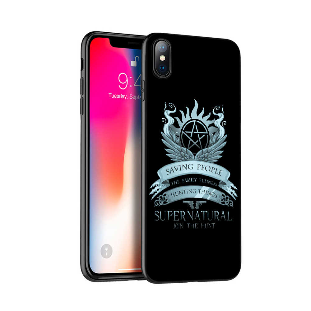 Caso di tpu nero per iphone 5 5s se 6 6s 7 8 più di x 10 caso della copertura del silicone per iphone XR XS 11 pro MAX supernatural Jared Padalecki