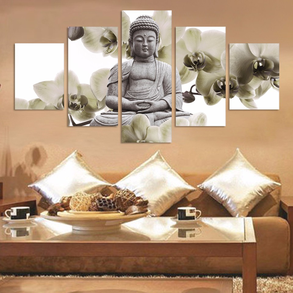 Hd Home Decor 5 Panel Bedroom Unframed Large Orchid Background Buddha Painting Fengshui Canvas Art Wall Pictures For Living Room