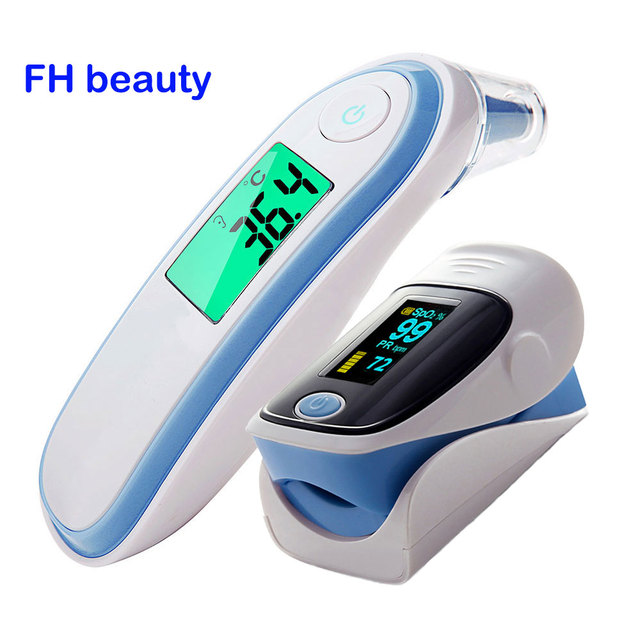 Fingertip Pulse Spo2 PR Oximeter & Body Medical Ear & forhead Infrared Thermometer Digital portable Family Health Care Package
