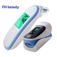 Fingertip Pulse Spo2 PR Oximeter & Body Medical Ear & forhead Infrared Thermometer Digital portable Family Health Care Package