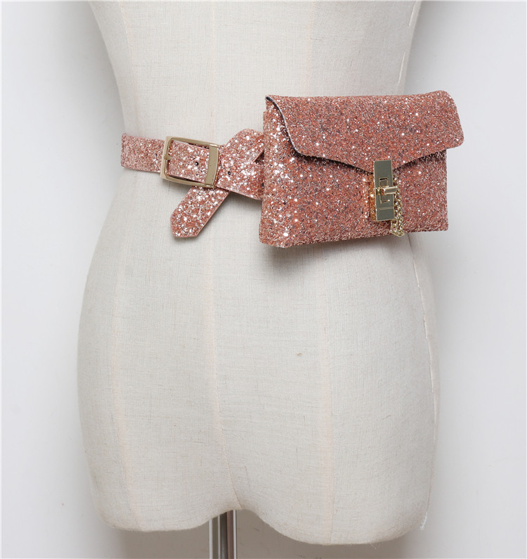 Fashion Shiny Women Waist Pack Mini Matching Dress Belt Bag Sequin Designer Waist Bag Girls Phone Bag Purse Bolsas Fanny Packs