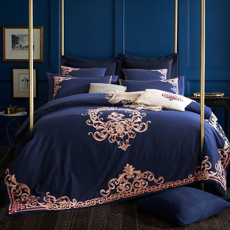 Embroidered Luxury Royal Bedding Set 60S Egyptian Cotton bed sheets Silky 4 6pcs King Queen Size