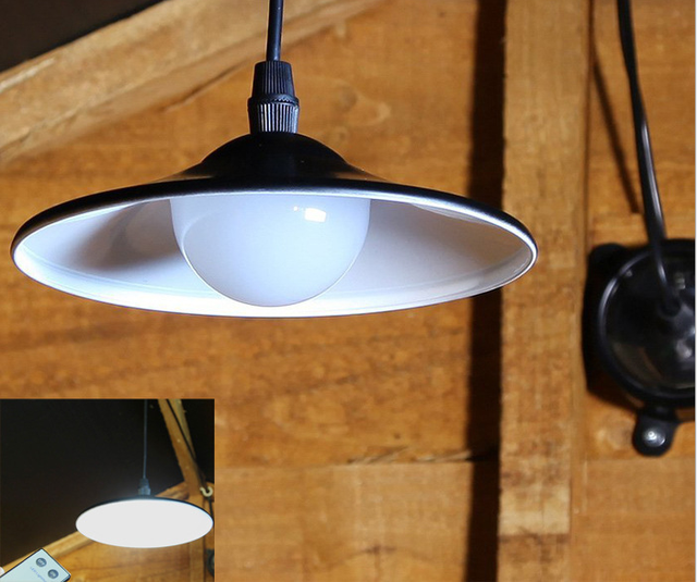 New Arrival Solar Powered LED Pendant Lights Black Leds Light Lamps Industrial Remote Control