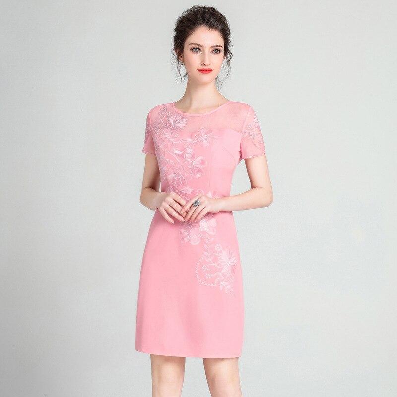 3xl Rétro 2018 À Robe D'été Lady Printemps Femmes Rose Office Robes Courtes Crayon Broderie Fleur rose Manches Parti Nouveau Vêtements Noir wwOUXF