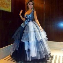 Einzigartiges Design Ballkleid Arabisch Tiered Prom Kleider sexy tiefer v-ausschnitt hand made nixe-abschlussball-kleid-partei-kleid-formale abend-kleider TK329