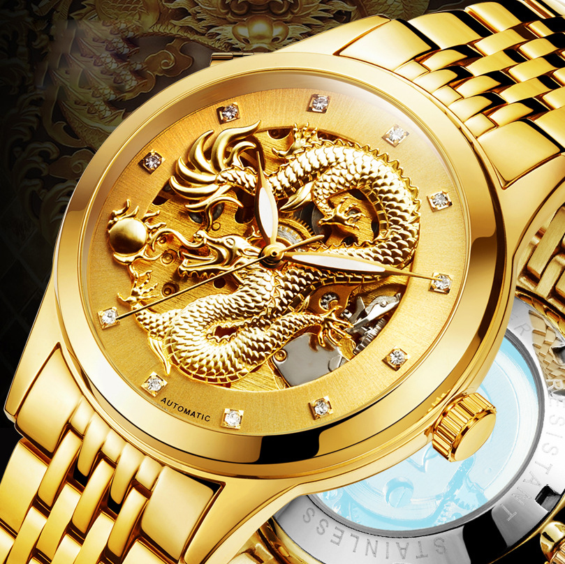 Luxury Chinese Dragon 3D Carving Gold Skeleton Mechanical Automatic Self-Wind Watch Men Steel Luminous Men Wrist Watches men luxury brand casual gold full steel band skeleton automatic self wind mechanical hand wind goden relogio for man wrist watch