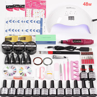 Set for Nails Extensions Kit Manicure Electric Machine Handle 36w/48w/80w Nail Lamp 12 Color Nail Polish Gel Varnish Acrylic Kit