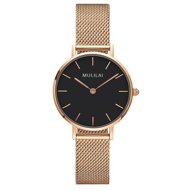 32 мм Роскошные Брендовые женские кварцевые часы со стальным браслетом модные простые женские часы из розового золота dw стиль+ браслет ЖЕНСКИЕ НАРЯДНЫЕ часы - Цвет: Rose Gold-Black