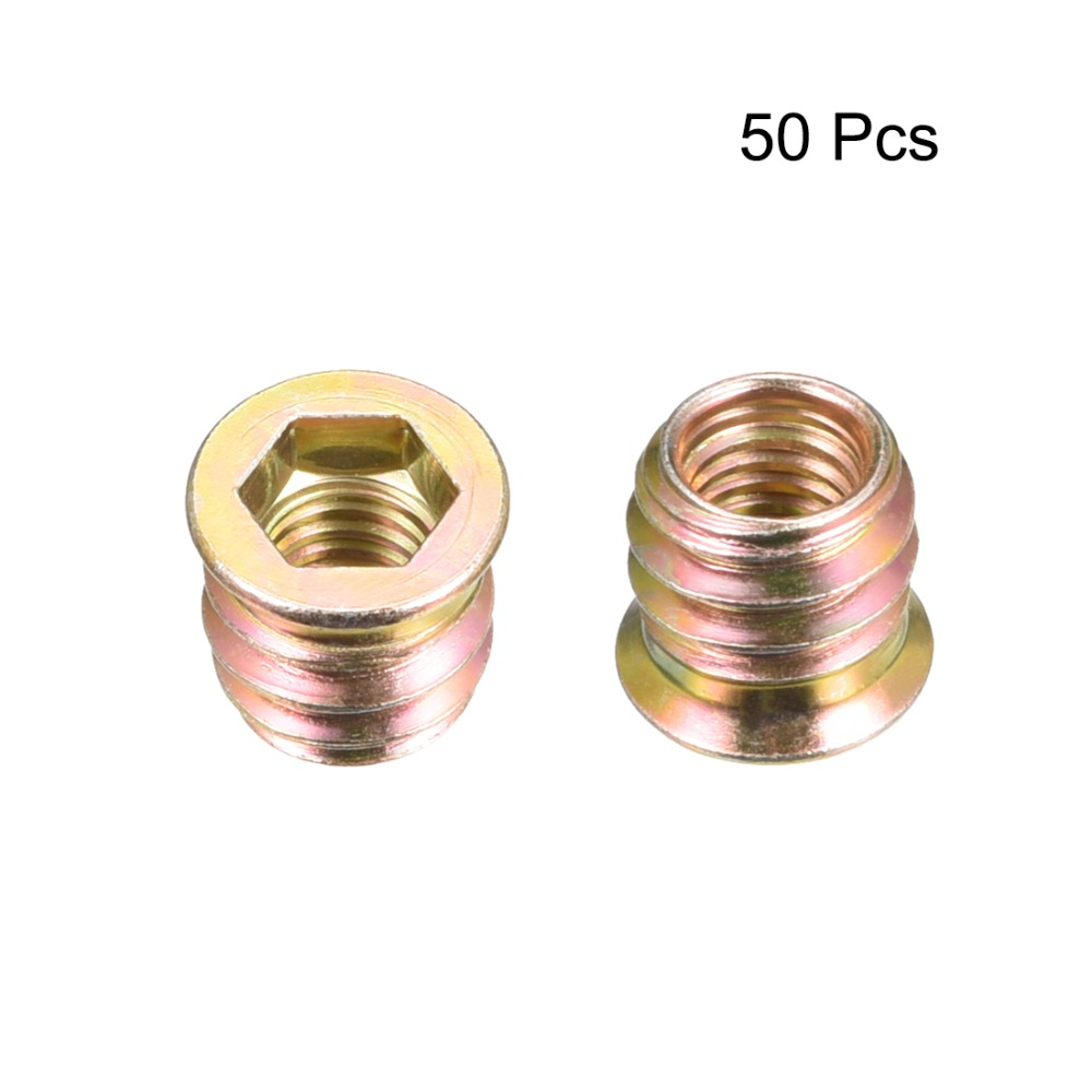 Loyal Uxcell 50pcs M8 Threaded Insert Nuts Interface Hex Socket Wooden Furniture Accessories Screws 5 Size Carbon Steel Bronze Tone