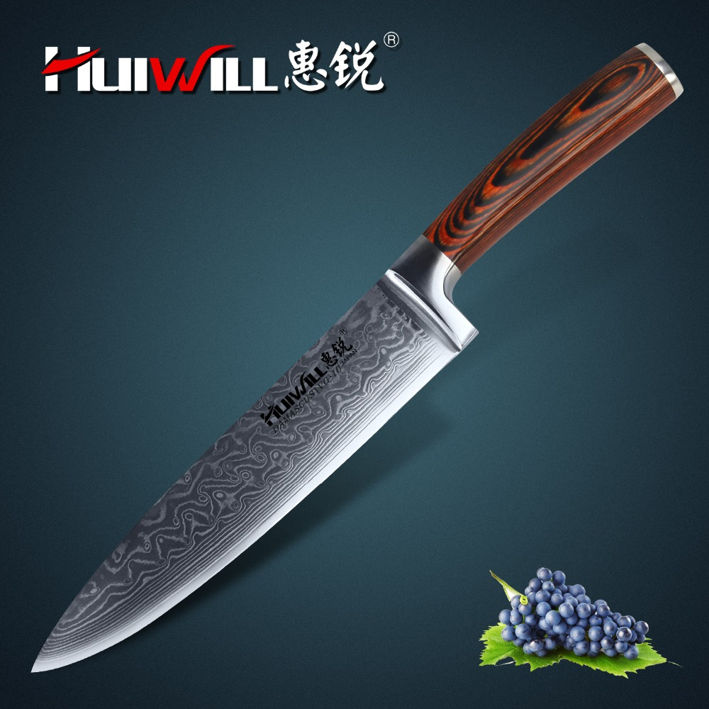 Huiwill brand VG10 Damascus carbon steel 8 kitchen chef knife Cleaver knife with Pakka Handle Super