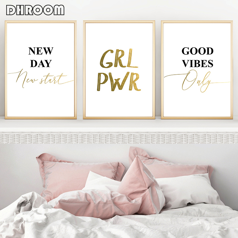 Black White Gold Posters And Prints Inspirational Words Wall Art GRL PWR Good Vibes Only Gift Canvas Picture Decorative Painting