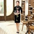 Autumn New Top Vogue Senior Blue Dress Chinese Female Velour Qipao Mandarin Collar Cheongsam Flower Clothes Size S M L XL XXL