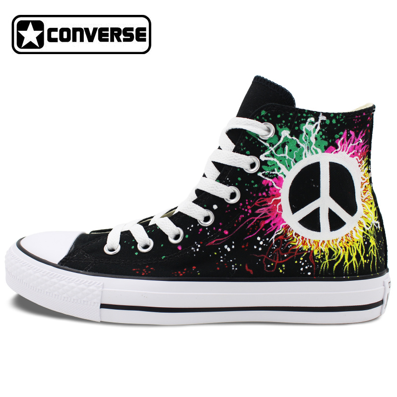 Peace Sign Converse All Star Design Hand Painted font b Shoes b font Woman Man High