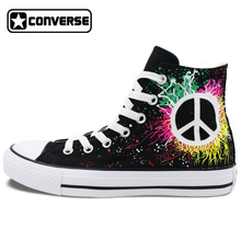 Peace Sign Converse All Star Design Hand Painted Shoes Woman Man High Top Canvas Sneakers Men Women Gifts