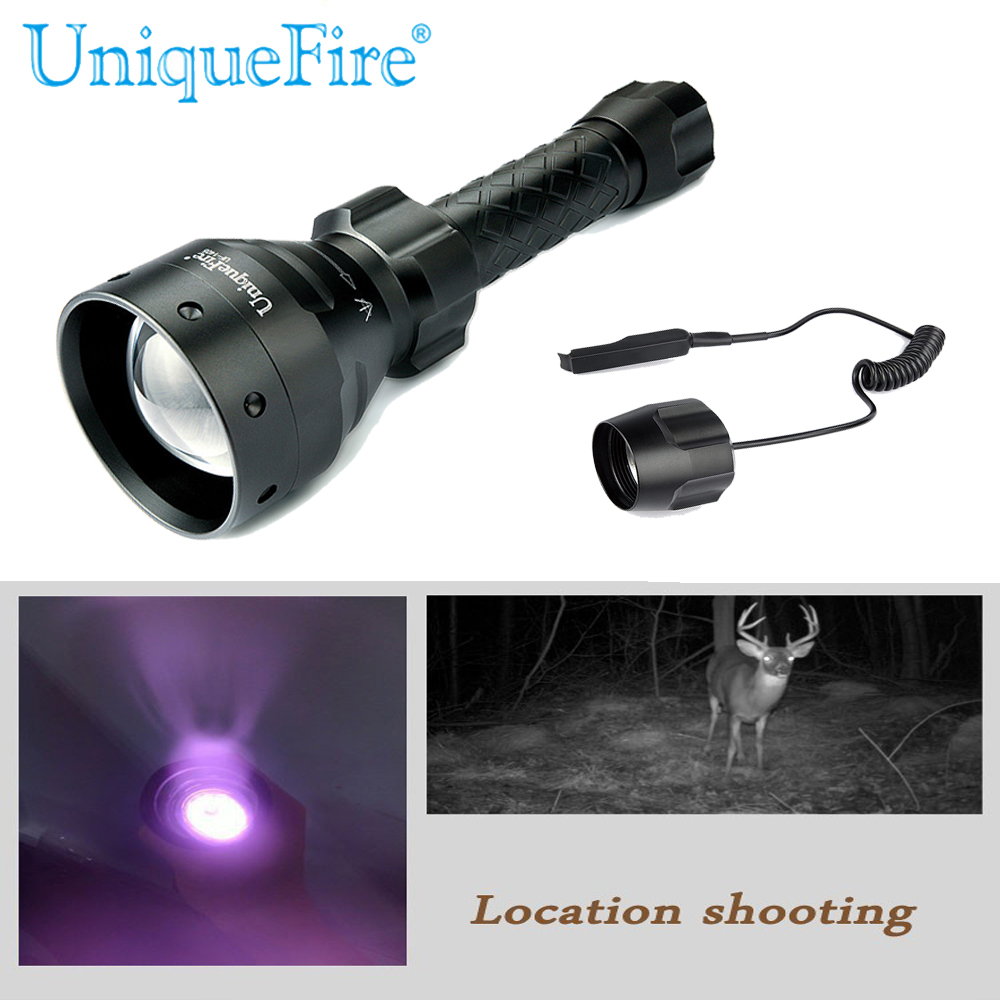 UniqueFire UF Flashlight 1405 IR 940nm Infrared Radiation Zoom 3Modes 67mm Lens LED Flashlight Night Vision Torch+Rat Tail uniquefire uf 1405 940nm ir led flashlight zoomable kit set 67mm convex lens 3 modes torch charger rat tail scope mount