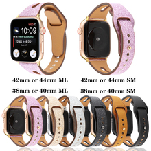 цена на Genuine leather bracelet strap for apple watch band 4 44/40mm wrist belt for iwatch series 3 2 1 42/38mm Universal accessories