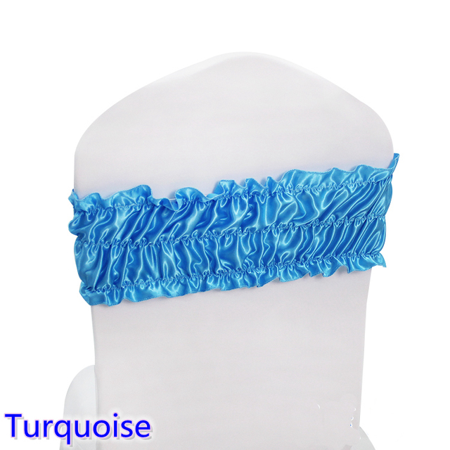 Turquoise Sash Wedding Chair Sash Ruffled Spandex Sash For Chair Covers Fit  For All Chairs For