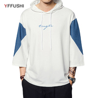 YFFUSHI 2018 Patchwork Men Sweatshirts Fashion Hoodies Middle Sleeve Pocket Hooded Pullover Loose Men Streetwear