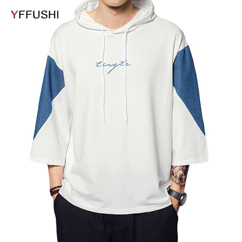 Yffushi 2018 лоскутное Для МУЖЧИН Кофты модные толстовки с капюшоном средний карман на рукаве пуловер с капюшоном свободные Для мужчин Уличная