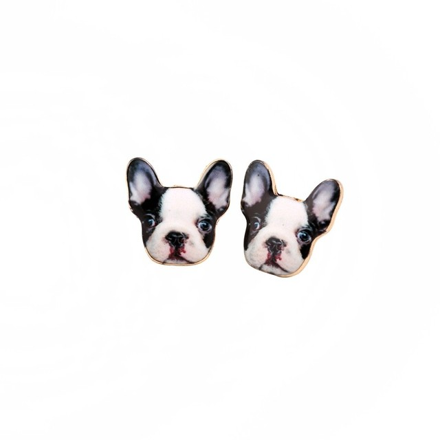 New Fashion Vintage Animal French Bulldog Earrings For Women Cute Gold Puppy Dog Stud Retro