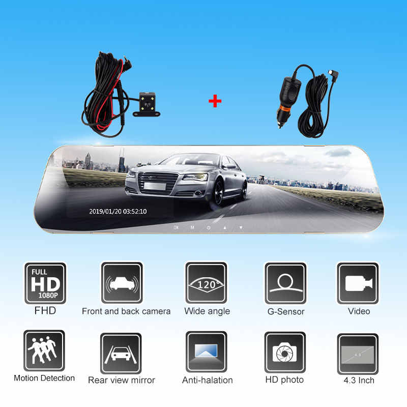 Full HD 1080 P Auto Dvr Camera Auto 4.3 inch Achteruitkijkspiegel Digitale Video Recorder Dual Lens Dash Cam Registratory camcorder