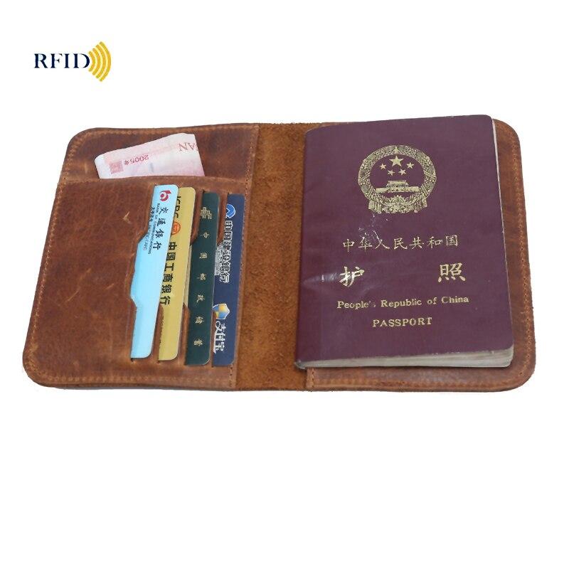 Passport Wallet RFID BLOCKING Top Grain Genuine Cow Leather Passport Cover Unisex Wallet Card Holder Travel