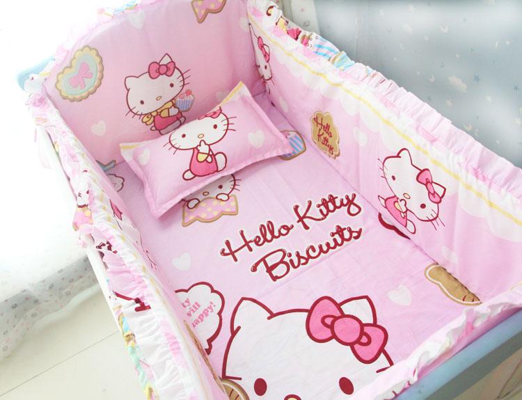 Discount! 6/7pcs Cartoon 100% Cotton Crib Bumper Baby Crib Bedding Set with Filler,Baby Bedding Set ,120*60/120*70cm