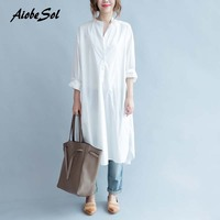 Plus Size White Shirt Dress Autumn New Women Work Wear Long Dress Korean Style Asymmetric Long