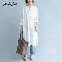 Plus Size White Shirt Dress Autumn New Women Work Wear Long Dress Korean Style Asymmetric Long