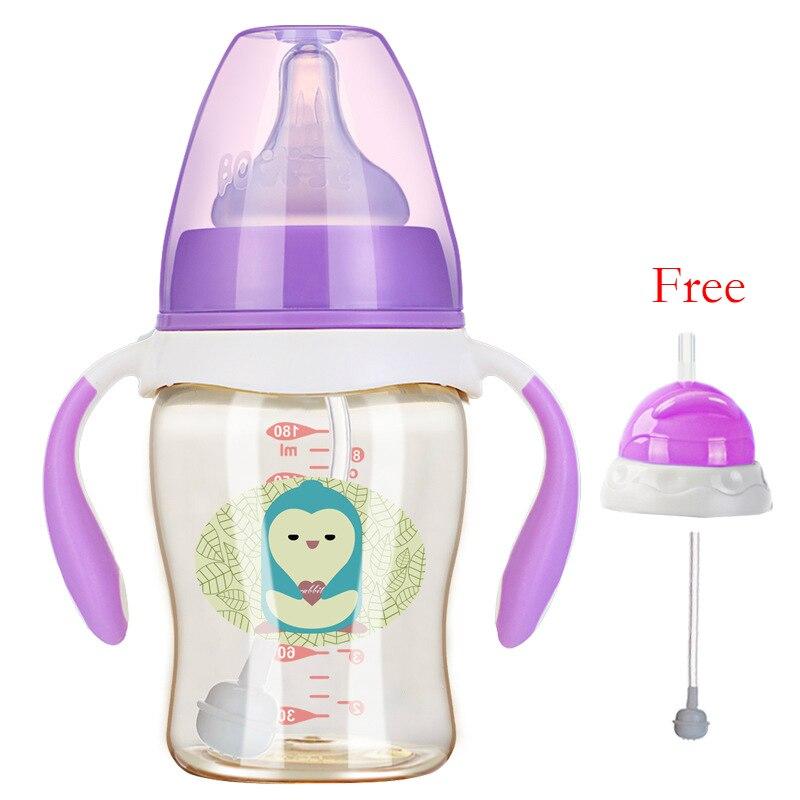 180/260ml Ppsu Baby Feeding Bottles Cups Kids Water Milk Bottle Soft Mouth Duckbill Sippy Infant Drink Training Feeding Bottle