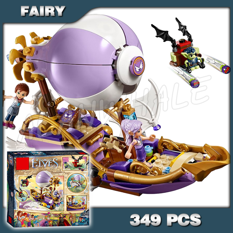 349pcs Elves Aira's Airship & the Amulet Chase Flying Boat <font><b>10696</b></font> Model Building Blocks Princess Toys Bricks Compatible with Lago image