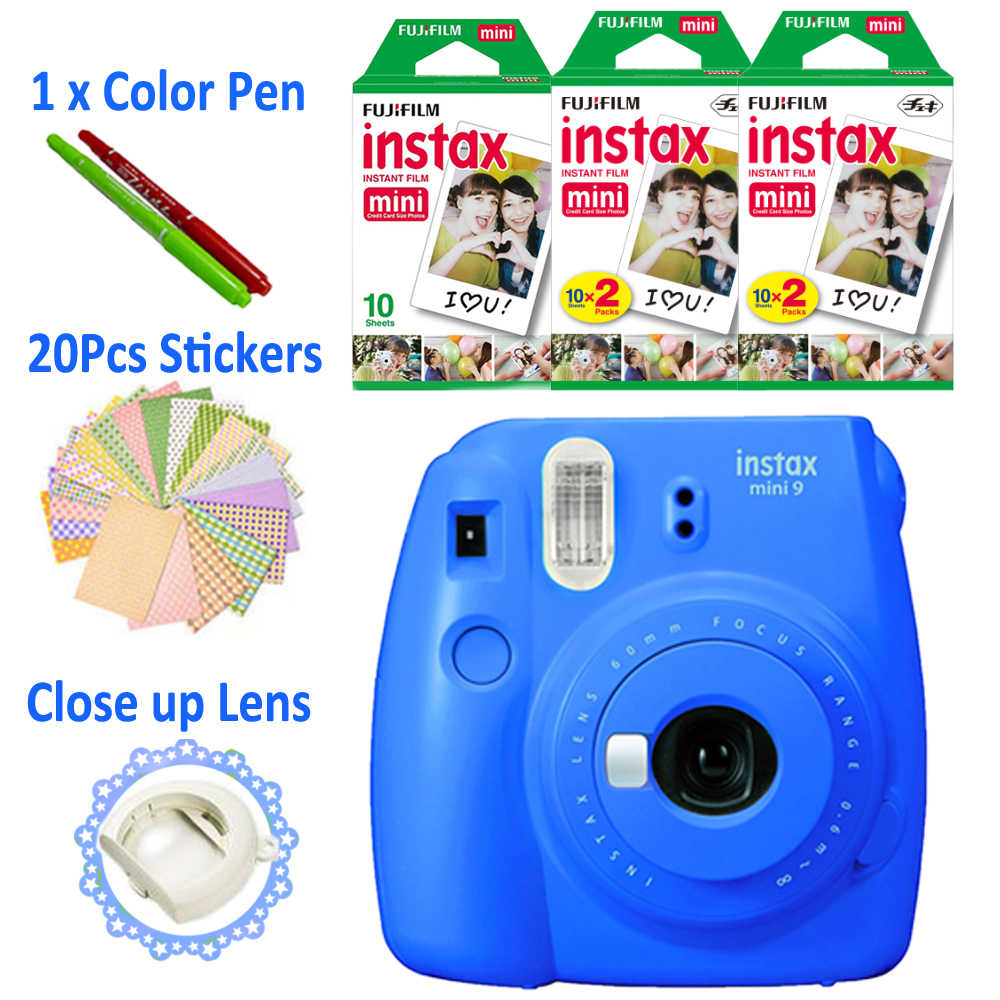 Fujifilm Instax Mini 9 كاميرا الكوبالت الأزرق + 50 صور فوجي لحظة صغيرة 8 فيلم أبيض ورقة صورة مجانية 20 قطعة ملصقات وقلم
