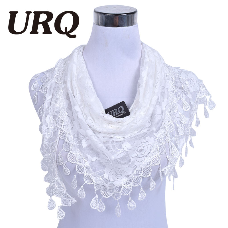 Tassel Summer Lady Lace Scarf  Flexible Women Triangle Bandage Floral Scarves Shawl Marriage Gift Scarf L5A15822