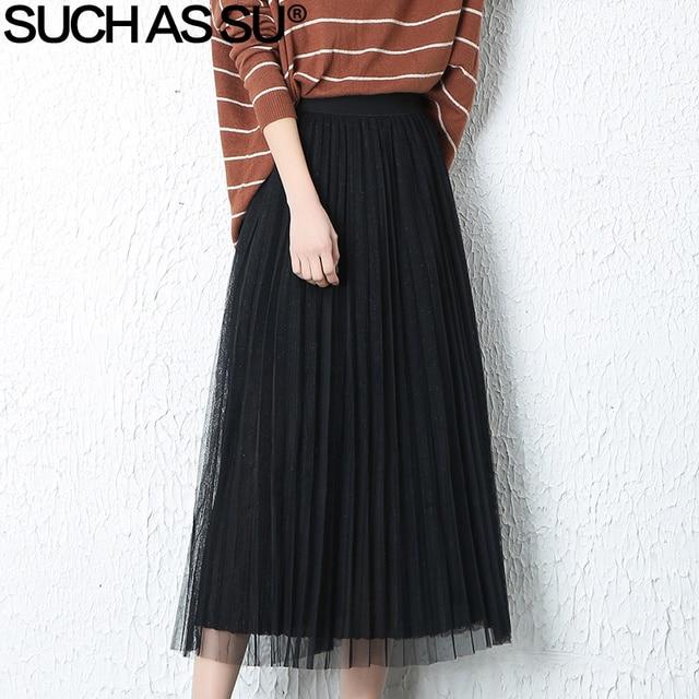 95358ed681 SUCH AS SU 2018 Spring Summer Mesh Pleated Skirts Womens Gray Black Green  High Waist Long