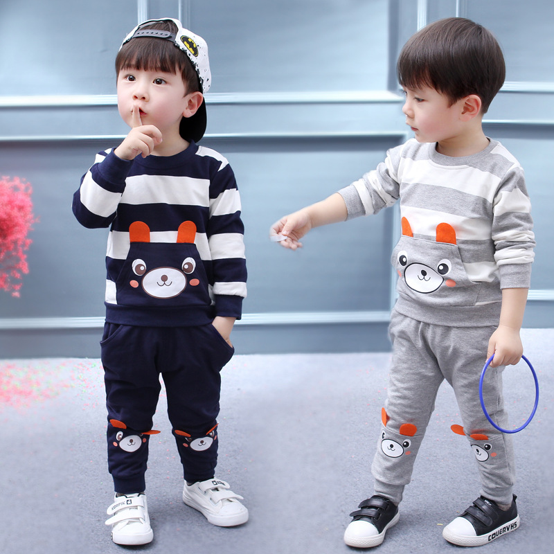 2017 New Baby Boys Long Sleeve Cartoon Bear Clothing Set For 12M 24M 3 4 Years Boy 2 Pieces Kids Autumn Spring Clothes Wholesale  fashion boy s clothing set baby suit nice kids cotton long sleeve red shirt spaghetti strap jeans age for 2 3 4 5 6 years