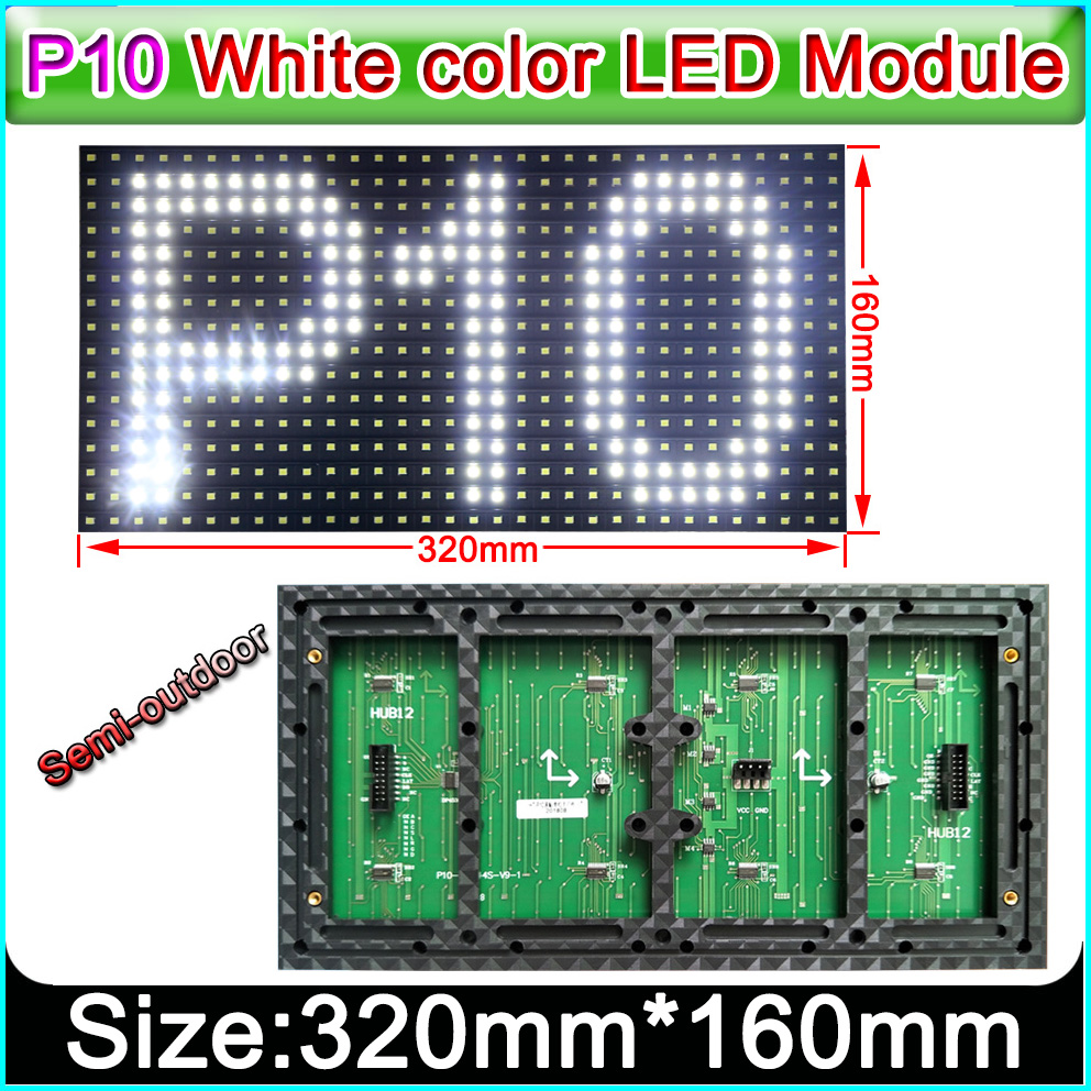 320 x 160mm Semi-outdoor white color P10 LED display panel,Single color indoor SMD P10 LED display module
