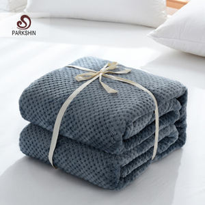 Image 1 - Parkshin Fashion Dark Blue Flannel Pineapple Blanket Aircraft Sofa Office Adult Blanket Car Travel Warm Throw Blanket For Couch