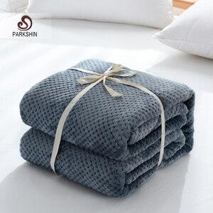 Image 1 - Parkshin moda franela azul oscuro piña manta avión sofá Oficina adultos manta viaje coche cálido manta para sofá