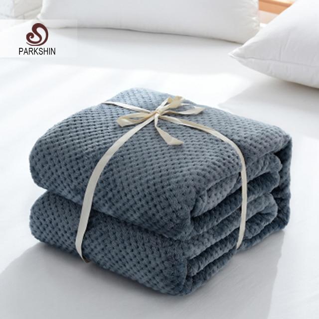 Parkshin moda franela azul oscuro piña manta avión sofá Oficina adultos manta viaje coche cálido manta para sofá
