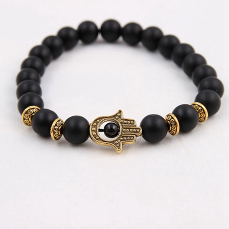 Black White Blue Matte Bead Lava Stone Beaded Bracelet Womens
